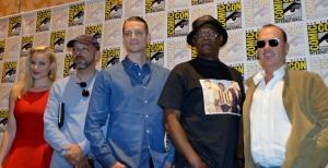 RoboCop-tiimi Comic-Conissa: Abbie Cornish, ohjaaja José Padilha, Joel Kinnaman, Samuel L. Jackson ja Michael Keaton.