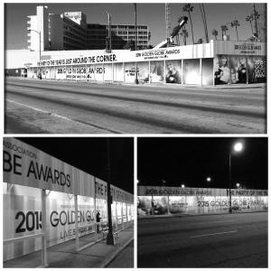 Golden Globe -gaala pidetään sunnuntaina 11.1.2015 Beverly Hilton -hotellissa. Ohikulkijat eivät voi olla huomaamatta sitä. Wilshiren ja Santa Monica Boulevardin risteyksessä on jättibanneri. Sen ohi ajaa päivittäin 300 000 autoilijaa. Kuva: Theo Kingma