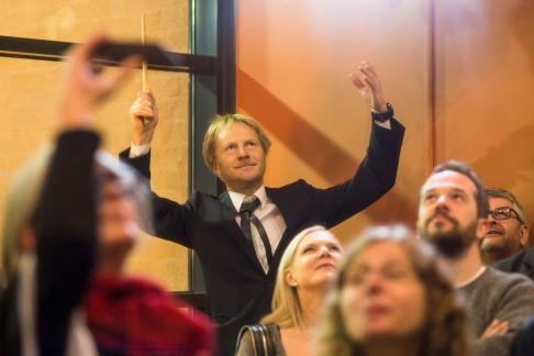 Men's Choir Shouters' conductor Petri Sirviö. Photo: NFFC / Lotta Salonen.
